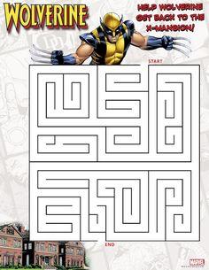 Free Superhero Printables - Wolverine printable maze, also Spider-Man and Iron Man printable maze.