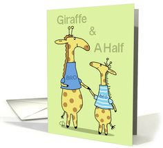 Happy Birthday Half Brother-Two Whimsical Giraffes Hold Hands card
