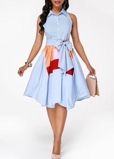 Keep things simple and chic in the Asymmetric Hem Button Front Belted Dress! Baby blue and colorful patchwork classic look across soft woven fabric as it forms a turn down collared neckline, front buttons, sleeveless sleeves, and asymmetric hemlin. Jj Dresses, Trendy Dresses, Women's Fashion Dresses, Sexy Dresses, Dresses Online, Dress Outfits, Summer Dresses, Fashion Clothes, Trendy Clothing