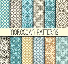 Moroccan tiles - Arabic patterns - Instant Download - Set of 12 Paper - 12x12 inch - Digital Paper Pack - Scrapbook, Web design, Card making