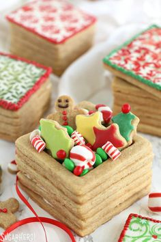 Christmas Present Cookie Boxes - edible brown sugar cookie boxes, filled with treats...