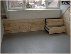 Afbeeldingsresultaat voor opbergen schuin dak zolder