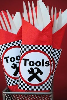 Cool idea for the party...maybe just a small sign that says Tools instead of individually wrapped