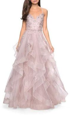 Sweetheart Sleeveless Lace Applique & Tiered Tulle Ball Gown by La Femme at Neiman Marcus Tulle Balls, Tulle Ball Gown, Satin Gown, Ball Gown Dresses, 15 Dresses, Tulle Dress, Nice Dresses, Amazing Dresses, Beautiful Dresses