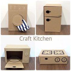 Cardboard Kitchen, Cardboard Crafts Kids, Diy Cardboard Furniture, Cardboard Dollhouse, Diy Barbie Furniture, Cardboard Toys, Diy Dollhouse, Dollhouse Furniture, Diy Karton