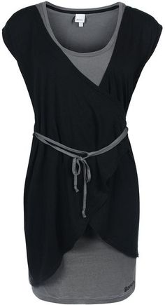 Bench Womens Scoop Double Layer Dress - with vest on inside and short sleeved wrap over on the top, tie waist detail, bench logo printed at the bottom left of vest dress, bench logo embroidered on woven tab on rear right of wrap dress. Tunic dress.