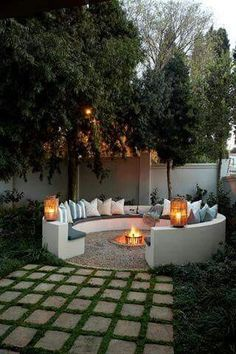 Outdoor firepit | circle concrete cozy entertaining sitting area #garden #landscaping #firepit