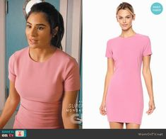 Lina's pink short sleeve dress on Jane the Virgin.  Outfit Details: https://wornontv.net/83816/ #JanetheVirgin