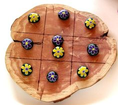 Fun tic tac toe board made from cedar, approximately across and thick, all board sizes will vary. Each board comes with 10 hand painted rocks and the lines are burned in. These can totally be (picnic games for toddlers) Rock Painting Patterns, Rock Painting Ideas Easy, Painting For Kids, Diy Painting, Rock Crafts, Crafts To Sell, Arts And Crafts, Rock Games, Painted Rocks Kids