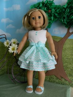 American Girl doll clothes 18 inch doll clothes by SewCuteJune American Girl Doll Costumes, American Girl Dress, American Girl Clothes, American Dolls, Baby Girl Dolls, Boy Doll, Ag Doll Clothes, Doll Clothes Patterns, Handmade Rugs