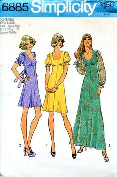 Sewing Patterns,Vintage,Out of Print,Retro,Vogue Simplicity McCall's,Over 7000 - Simplicity 6885 Retro 1970's Empire Dress Evening Length