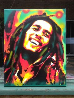 painting of bob marley,stencils & spraypaints on canvas,trench town rock,wailers,green,red,yellow,reggae,music,dreadlock