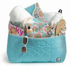 cinda b Beach Bag $139.00, eReader $35.10 Cover II, and Happy $17.00 in Casablanca Sky Blue