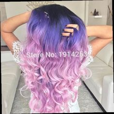 41.39$  Buy now - http://ali8nd.worldwells.pw/go.php?t=32752750160 - ombre black purple to pink Synthetic lace front wig with heat resistant fiber glueless long hair dark root wig for women 41.39$