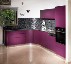 From Crimson to Violet, Kitchen Designs in Purple