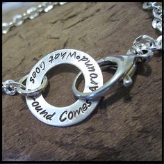 Personalized Stamped Sterling Silver Open Circle Bracelet