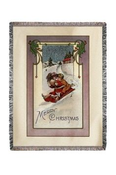 Merry Christmas - Couple Sledding - Vintage Holiday Art (60x80 Woven Chenille Yarn Blanket), Multi