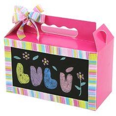 Caja con pizarrón para niños. Dulceros para fiestas infantiles. Rosa