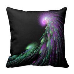 Gorgeous Swirls Throw Pillow - swirly galaxy galactic peacock falling stars flowy swirly black with bright colors spiritual supernatural fractal cushion