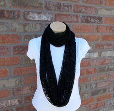 Black Mesh Scarf Fashion Scarf Long Loop Infinity by foreverandrea