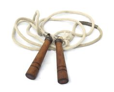 Vintage Jump Rope, Skipping Rope, Gym Equipment, Wood Handle Rope, Exercise Rope, Sports Collectible, Jumping Rope, Rustic Country Decor