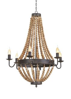 the beaded chandelier is made of iron and wood beads the chandelier features wrought iron