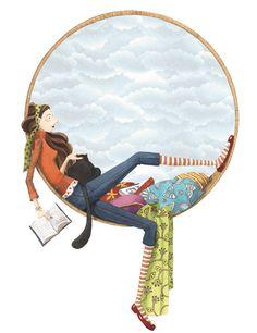 """Momo Carretero. La il·lustració porta per títol """"Llegint""""."""