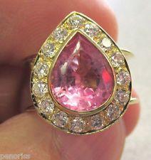 Beautiful Estate 18k Gold Pink Tourmaline & Diamond Ring size 4.5   Make…