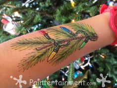 Christmas Face painting by Gretchen Fleener Face Painting Designs, Paint Designs, Body Painting, Frozen Face Paint, Zoo Lights, Christmas Face Painting, Christmas Preparation, Christmas Lights, Christmas Tree