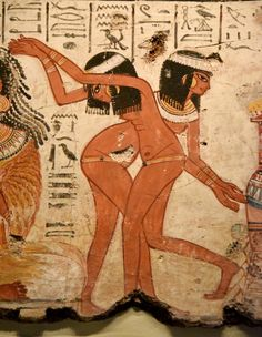 The young dancers are fluidly drawn and are naked apart from jewellery. Photo © Osama S. M. Amin. Nebamun tomb-chapel.