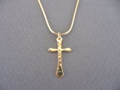 hammered  gold cross necklace by oliveliDesign on Etsy, $25.00