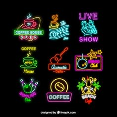 vaporwave logo Set of neon signs for different business Free Vector Neon Design, Graphic Design, Lettering Design, Branding Design, Word Fonts, Neon Aesthetic, Band Posters, Retro Art, Typography Logo