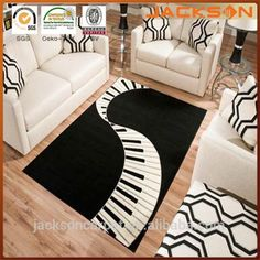 Terra Piano Rectangle Area Rug Black/White #Traditional_Living_Rooms, #piano
