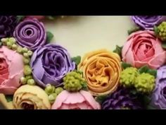 Tutorial Butter Cream Cake Flower Decoration - YouTube