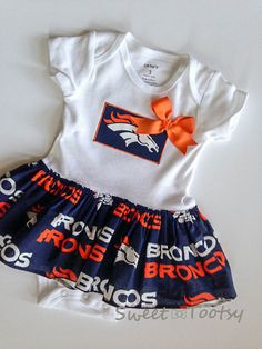 Broncos Skirted Onesie Dress Denver Broncos Dress by SweetTootsy
