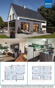 Even where a gable roof is . Even where a gable roof is required, a modern architec - Modern Architectural Styles, Gable Roof, Gable House, Basement Inspiration, Outdoor Chandelier, Home Design Plans, Small House Plans, My Dream Home, Home Projects