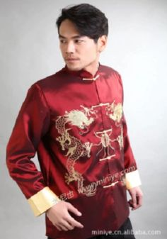 Get into Chinese New Year style by dressing in accordance with its design and material especially designed for men of all ages. Chinese New Year Gifts, Chinese Traditional Costume, Silk Satin, Dressing, Costumes, Long Sleeve, Mens Tops, Style, Fashion
