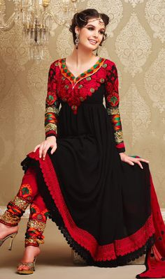 Black and Red Faux Georgette Anarkali Salwar Kameez Price: Usa Dollar $144, British UK Pound £85, Euro106, Canada CA$155 , Indian Rs7776.