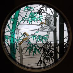 Birds and Bamboo in stained glass