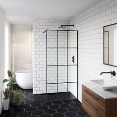 What does a Crittall style shower screen go with? A Walnut vanity unit of course! Check out our Shoji shower screen & Zane unit for black bathroom inspiration. Loft Bathroom, Small Bathroom, Bathroom Ideas, Bathroom Organization, Modern Bathroom Tile, Bathroom Plumbing, Bathroom Sinks, Budget Bathroom, Bathroom Cabinets