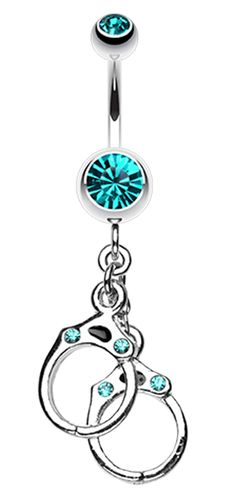Handcuff Sparkle Belly Button Ring - 14 GA (1.6mm) - Clear - Sold Individually