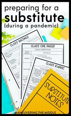 Substitute Binder, First Year Teaching, Helpful Hints, Notes, Student, Organization, How To Plan, Getting Organized, Useful Tips