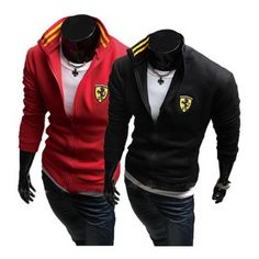 2012 new fashion casual mens hoodie solid color jackets slim fit sweatshirts tops M-XXL,black ,red Men's Coats And Jackets, Cool Jackets, Slim Fit Jackets, Colorful Hoodies, Casual Sweaters, Well Dressed Men, Men Casual, Mens Fashion, Hoody