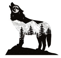 Wolfing Around in CO. Silhouette of a howling wolf with mountain scene of Mt. Ev… Wolfing Around in CO. Silhouette of a howling wolf with mountain scene of Mt. Original Medium: Digital Drawing using Adobe Sketch. Artist: Cherie L Smittle Wolf Silhouette, Silhouette Tattoos, Silhouette Painting, Silhouette Cameo, Animal Drawings, Pencil Drawings, Art Drawings, Drawing Art, Wolf Drawings