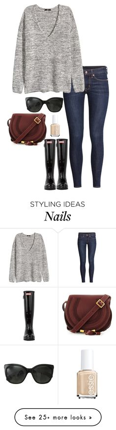 """hunters"" by kcunningham1 on Polyvore featuring Chanel, H&M, Chloé, Hunter and Essie"