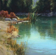 Effective use of pastel to blend the green and blue, representing the initial body of water, and the trees' reflection. Pastel's initial texture helps provide a realistic hazy appearance to the water.