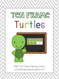 Ten Frame Turtles {Free Math Center from Bright Beginnings   Amber Monroe TpT (FREE)