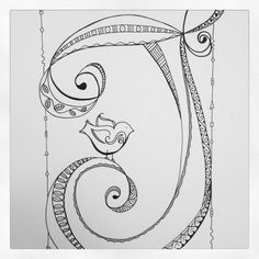Just found this lovely Zenspirations Patterned monogram with my signature bird! by aftr Doodle Alphabet, Hand Lettering Alphabet, Doodle Lettering, Creative Lettering, Alphabet Symbols, Calligraphy Alphabet, Zentangle Drawings, Doodles Zentangles, Doodle Drawings