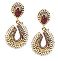 Indian Bollywood Pearl CZ Red Green Gold Plated Maroon Dangle Ethnic Earring #WearIndia #DropDangle