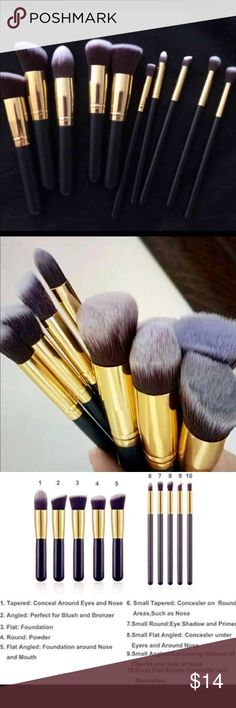 New 10pcs brushes set 10pcs makeup Brush Set Cosmetic Liquid Foundation Blending Blush   About the product: -Makeup brushes ferrule is made with high performance alloy for durability and strength ,undergo 7 steps process to prevent shedding . -Brush Material : Synthetic Hair, Mink Hair -Large size: 15.5x2x2cm -Small size: 18.5x0.8x0.8cm -Product size (LxWxH): 15.5x 2x 2cm/6.09x 0.79x0.79 inches -Package size(LxWxH): 20x 5x 5cm/ 7.86x1.97x 1.97 inches -Package Contents: 5x Large Brushes and…